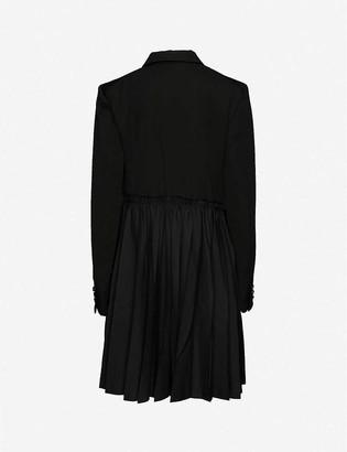 Black Comme Des Garcon Pleated-overlay peplum wool coat