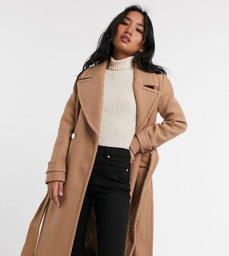 Forever New Petite long wrap coat in camel