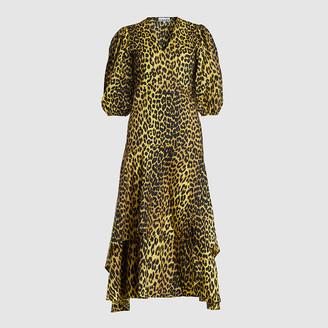 Ganni Animal Bijou Leopard Print Wrap Dress DK 36