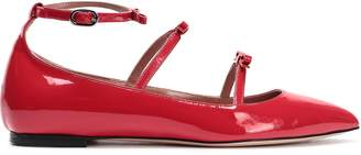 Red(V) Red(v) Bow-embellished Patent-leather Point-toe Flats