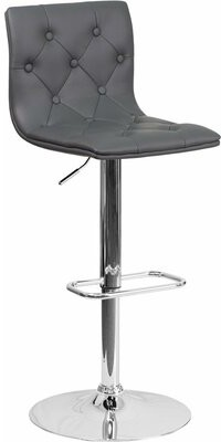 Wrought StudioTM Outen Swivel Mid Back Tufted Adjustable Height Bar Stool Wrought Studio Upholstery: Gray