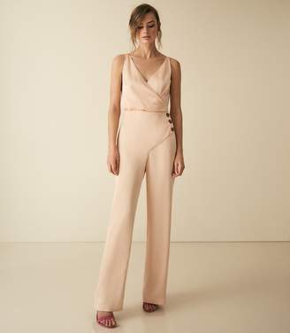 Reiss Antonia - Button Detail Jumpsuit in Gold