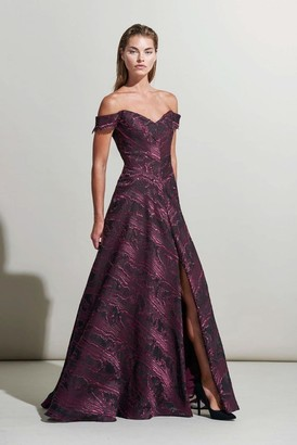 Rene Ruiz Collection Off Shoulder Fuchsia A-Line Evening Gown