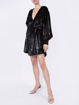 Balmain Velvety Metallic Dress Black