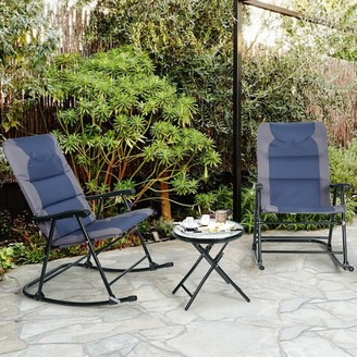 Overstock 3 pcs Outdoor Folding Rocking Chair Table Set-Blue - Blue