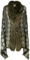 Bazar Deluxe - patterned cape - women - Polyamide/Wool/Racoon Fur - One Size