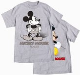 Disney Mens/Unisex T-Shirt, Mickey Mouse Now & Then, Front & Back Print, L, Grey Heather