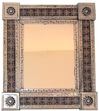 Fine Crafts & Imports Silver Dolores Tile Talavera Tin Mirror