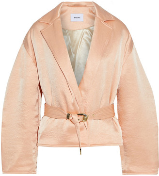 Nanushka Mantra Belted Crinkled Washed-satin Padded Jacket