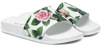 Dolce & Gabbana Floral leather slides