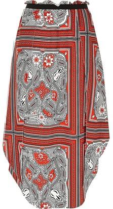 River Island Red floral print hanky hem skirt