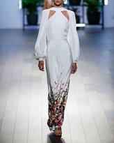 Cushnie et Ochs Davina Long-Sleeve Surrealist-Floral Print Evening Gown w/ Cutouts