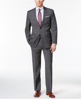 Tommy Hilfiger Dark Gray and Blue Windowpane Stretch Performance Modern-Fit Suit