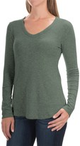Cynthia Rowley Ribbed V-Neck Shirt - Pima Cotton-Modal, Long Sleeve (For Women)
