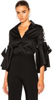 Jonathan Simkhai Lace Up Ruffle Sleeve Top in Black,White.