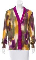 Oscar de la Renta Wool Tie-Dye Patterned Cardigan