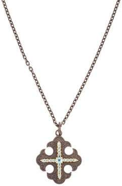 Arman Topaz Maltese Cross Pendant Necklace