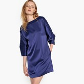 La Redoute Collections Buttoned-Sleeve Satin Shift Dress