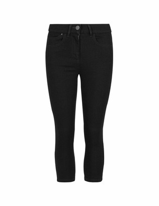 FashionLabels4Less Ex High Street Brand Cotton Rich Crop Cropped Jegging Women Cropped Stretch Crop Capri Pants 3/4 Length Elasticated Leggings Casual Tapered Jeggings - Colour: Navy Size: 12