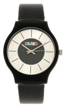Crayo Unisex Trinity Black Leatherette Strap Watch 36mm