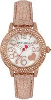 Betsey Johnson Women's Metallic Rose Gold Glitter Leather Strap Watch 33mm BJ00251-14