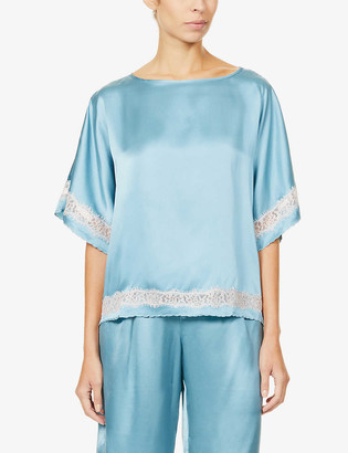 Nk Imode Poppy Retro silk-satin and lace top