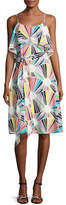 Trina Turk Isabel Sleeveless Geometric Silk Popover Dress, Multicolor