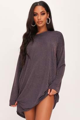 I SAW IT FIRST Grey Lurex Oversized Long Sleeve T-Shirt Dress