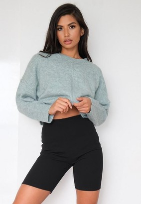 Missguided Petite Recycled Mint Seam Front Sweater