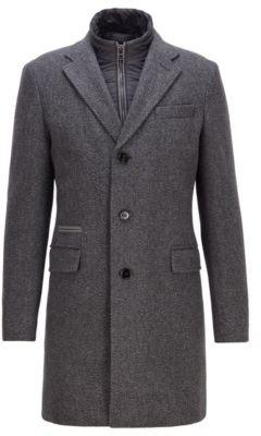 HUGO BOSS Slim Fit Blazer Style Coat With Detachable Inner Bib - Light Grey