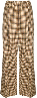 Jejia Checked Wide-Leg Trousers