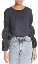 Tibi Women's Satin Poplin Smocked Sleeve Top