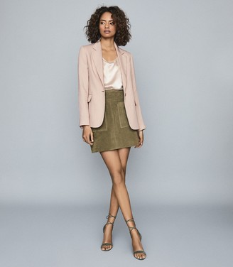 Reiss Lana - Textured Tailored Blazer in Pale Pink