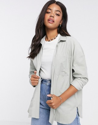Pimkie oversized cord shirt in sage