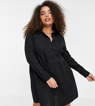 ASOS DESIGN Curve cotton mini smock shirt dress in black