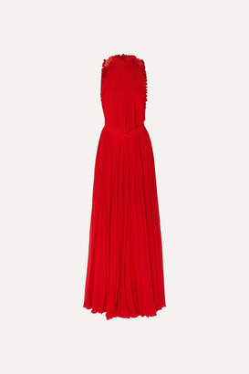 Givenchy Open-back Ruffled Plissé-silk Georgette Halterneck Gown - Red