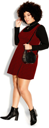 City Chic Check In Pini Dress - red