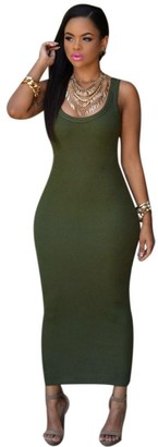 TUDUZ Hot Women Summer Sexy Elegant Slim Fit Bandage Bodycon Party Cocktail Maxi Long Dress Pencil Mini Dress (Army Green S)
