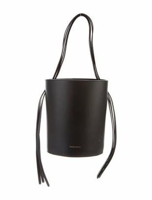Mansur Gavriel Leather Fringe Bucket Bag Black