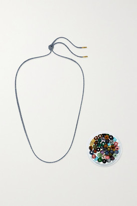 Carolina Bucci Forte 18-karat Gold And Lurex Multi-stone Necklace - Gunmetal
