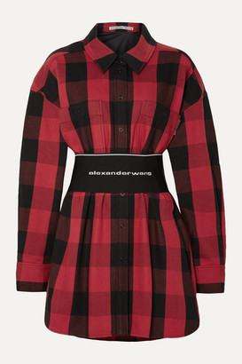 Alexander Wang Belted Checked Cotton-twill Shirt - Red