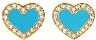 Jennifer Meyer Extra Small Diamond Turquoise Inlay Heart Yellow Gold Stud Earrings
