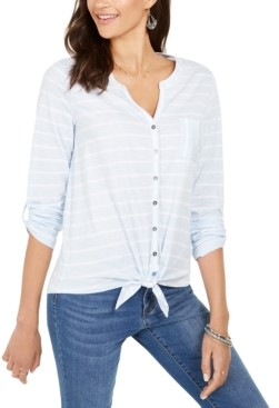 Style&Co. Style & Co Petite Cotton Striped Tie-Hem Shirt, Created for Macy's