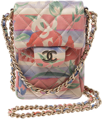 Chanel Multicolor Quilted Soft Leather Crossbody Phone Holder