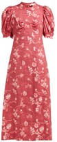 Sea Monet Floral-print A-line Ramie Midi Dress - Womens - Dark Pink