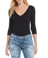 True Religion Lace Up Back 3/4 Sleeve Bodysuit