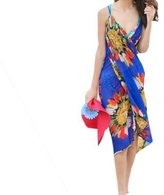 Generic Spaghetti Strap Chiffon Deep V-neck Backless Wrap Bikini Cover Up Beach Dress Sarong Blue