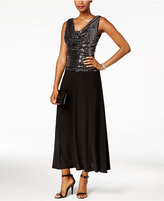 R & M Richards Petite Metallic Sequined A-Line Dress