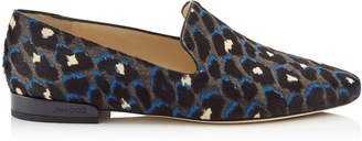 Jimmy Choo JAIDA FLAT Pop Blue Mix Leopard Print Pony Square Toe Slippers
