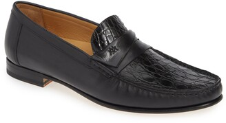 Mezlan Sica Crocodile Leather Penny Loafer